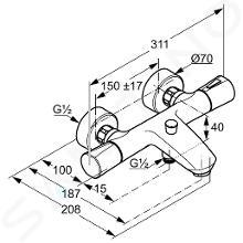 Kludi Zenta - Miscelatore termostatico per vasca da bagno, cromato 351010538