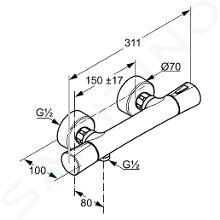 Kludi Zenta - Thermostat-Duscharmatur, chrom 351000538