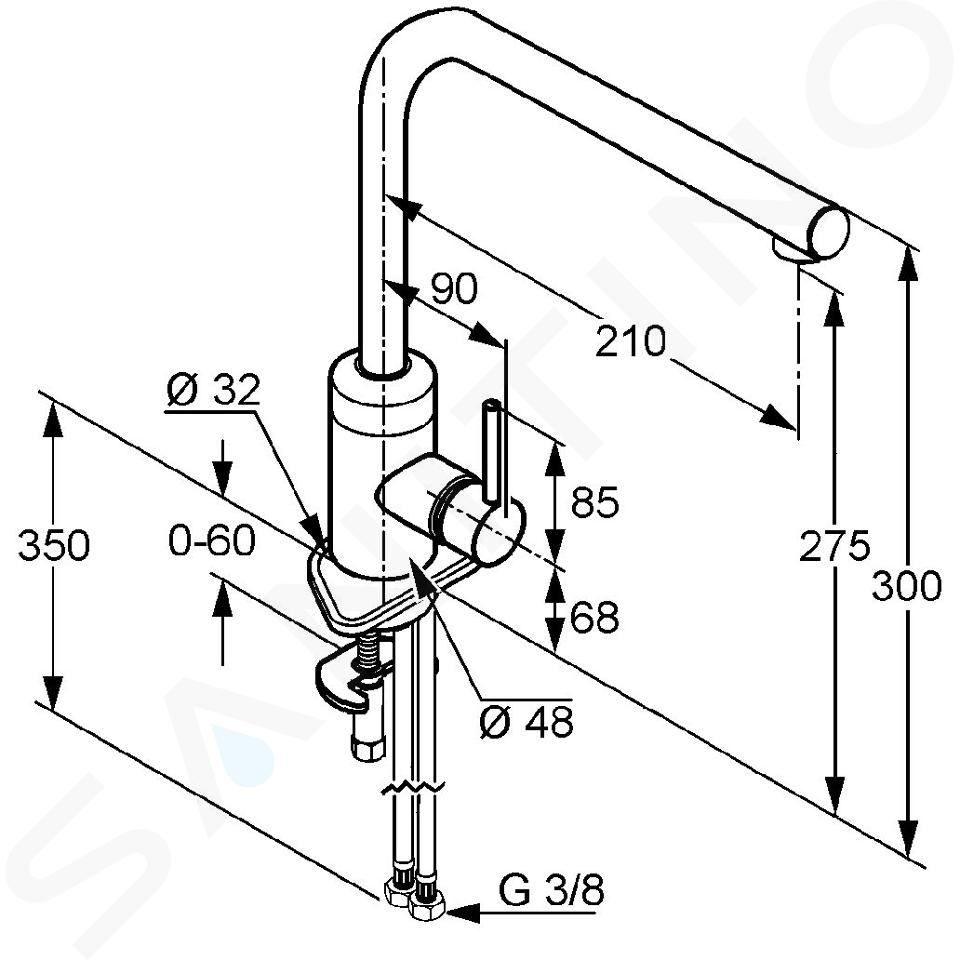 Kludi L-ine - Miscelatore monocomando per lavello, cromato 428140577