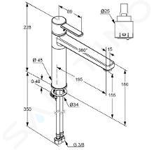 Kludi Zenta - Miscelatore monocomando per lavello, cromato 389730575