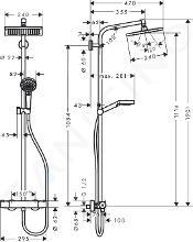 Hansgrohe Crometta - Set de douche E 240 Showerpipe avec thermostat, EcoSmart 9 l/min, chrome 27281000