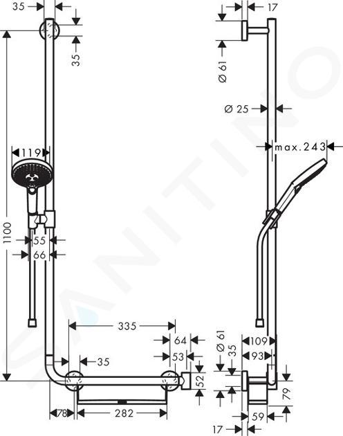Hansgrohe Raindance Select S - Sprchová souprava 120/Unica'Comfort 110 L, bílá/chrom 26324400