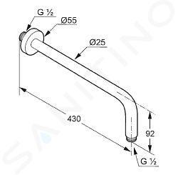 Kludi A-Qa - Braccio doccia 400 mm, cromato 6651405-00