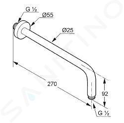 Kludi A-Qa - Braccio doccia 250 mm, cromato 6651305-00