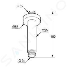 Kludi A-Qa - Deckenauslass 150 mm, chrom 6651505-00