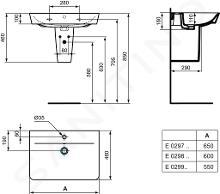 Ideal Standard Connect Air - Wastafel Cube 550x460x160 mm, 1 kraangat, wit E029901