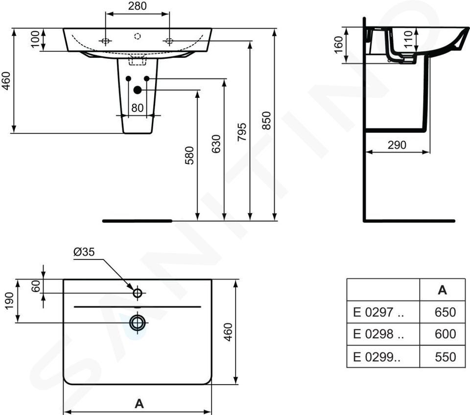 Ideal Standard Connect Air - Wastafel Cube 600x460x160 mm, 1 kraangat, wit E029801