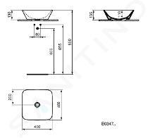 Ideal Standard Connect Air - Lavabo da appoggio 400x400x130 mm, bianco E034701
