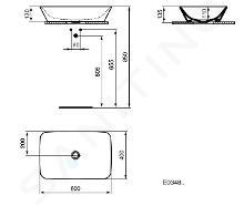 Ideal Standard Connect Air - Vasque à poser 600x400x130 mm, blanc E034801