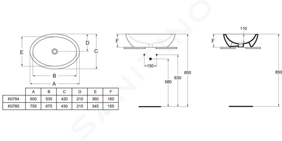 Ideal Standard Strada - Waschtisch 600x420x160 mm, weiß K078401