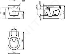 Ideal Standard Connect - Wand-WC, 360x340x540 mm, Rimless, mit Ideal Plus, weiß E8174MA