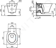 Ideal Standard Connect Air - Vaso sospeso, AquaBlade, bianco E005401