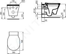 Ideal Standard Connect Air - WC suspendu, 360x540x350 mm, Rimless, blanc E015501