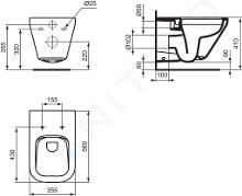 Ideal Standard Tonic II - Vaso sospeso, 355x560x350 mm, Rimless, con Ideal Plus, bianco K3163MA