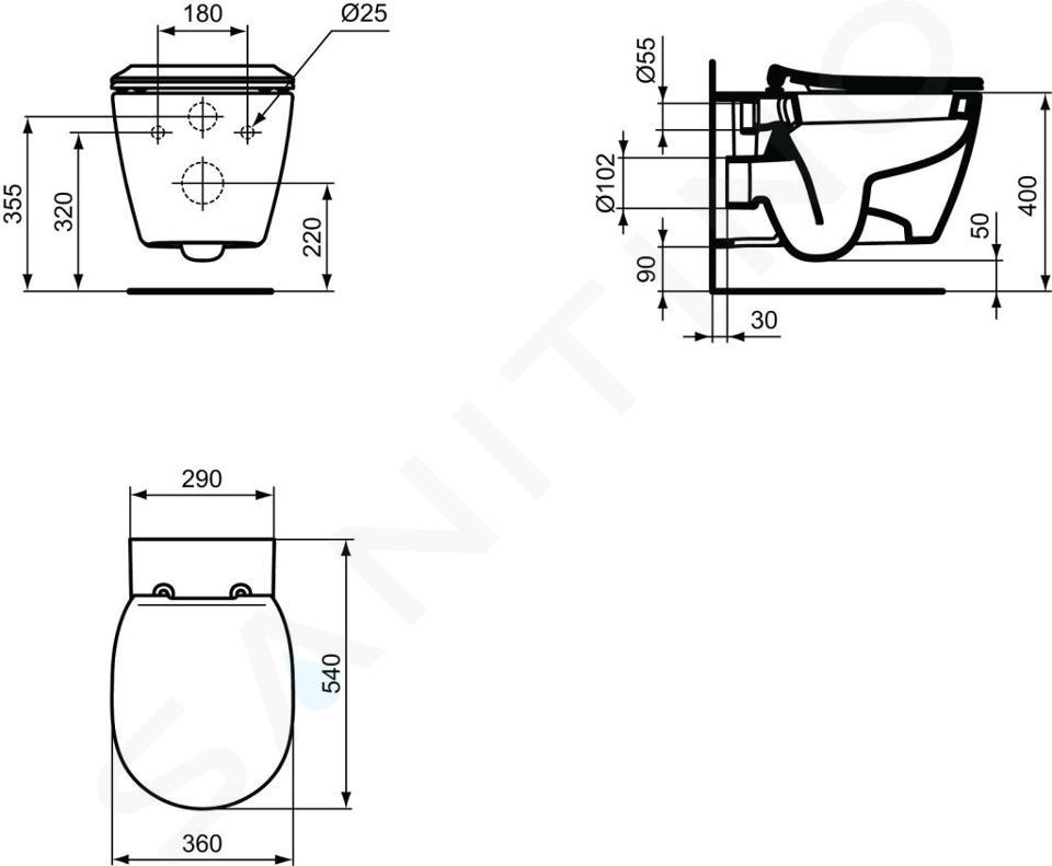Ideal Standard Connect - WC sospeso, 360x540x340 mm, con Ideal Plus, bianco E7718MA