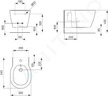 Ideal Standard Connect - Wandbidet 360x540x300 mm, wit E712601