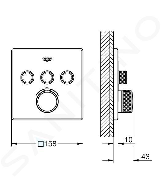 Grohe Grohtherm SmartControl - Unterputz-Thermostatwannenarmatur mit 3 Ventilen, verchromt 29126000