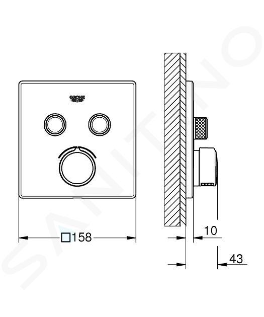Grohe SmartControl - Miscelatore ad incasso a 2 vie, cromato 29148000
