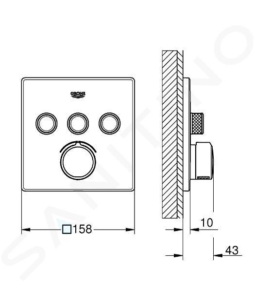 Grohe SmartControl - Inbouw mengkraan met 3 knoppen voor een bediening, chroom 29149000