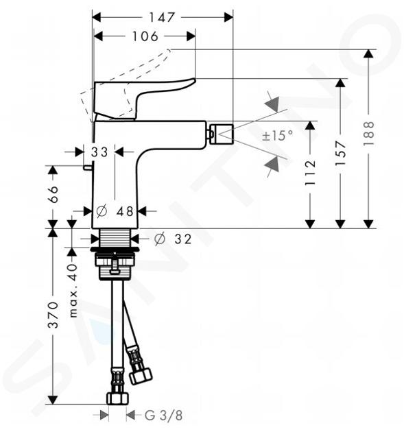 Hansgrohe Metris New - Miscelatore monocomando per bidet, con sistema di scarico, cromato 31280000