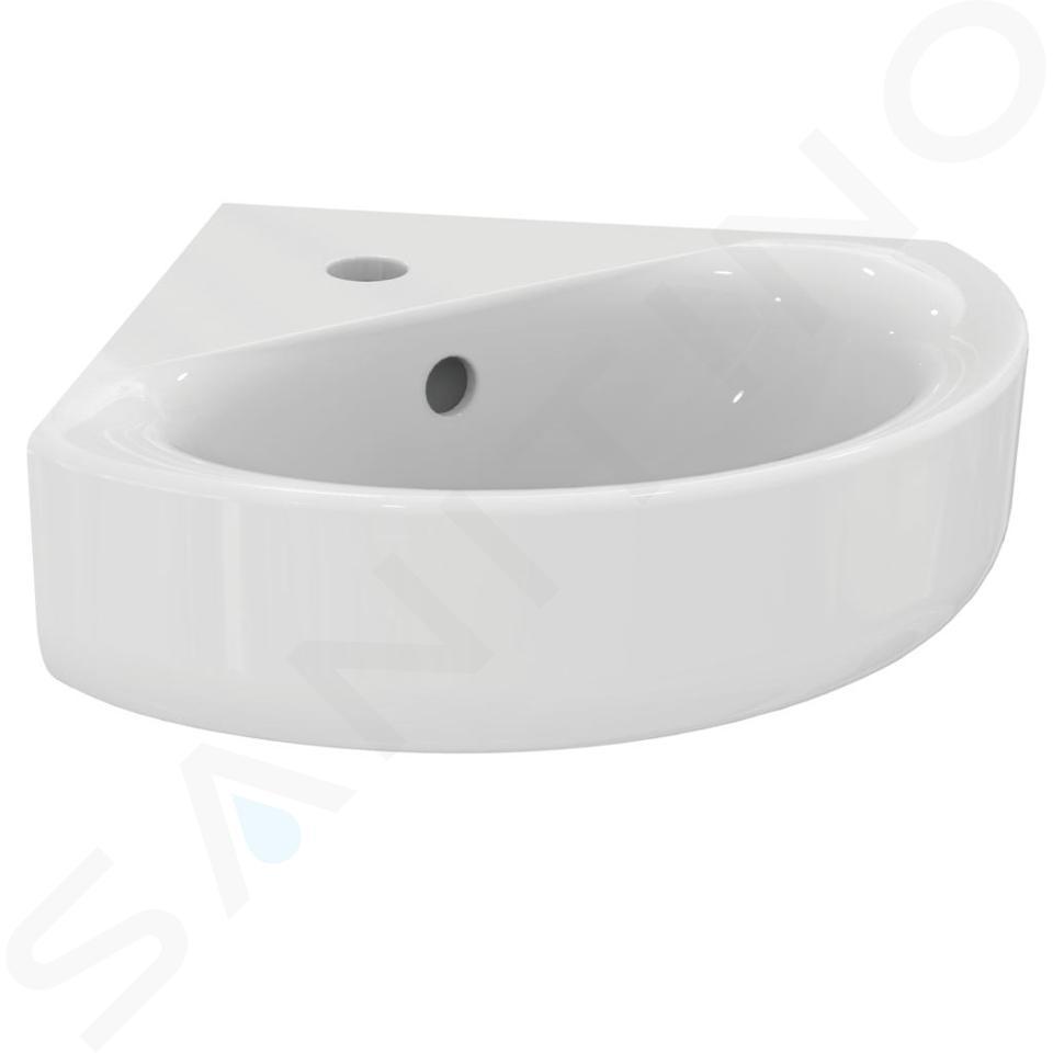Ideal Standard Connect - Lave-main d'angle 480x440x160 mm avec un trou pour mitigeur, blanc E713601