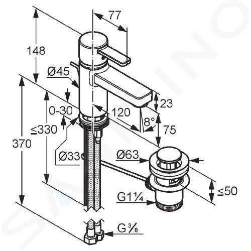 Kludi Zenta - Mitigeur de lavabo, noir/chrome 382608675