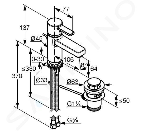 Kludi Zenta - Miscelatore monocomando per lavabo, bianco/cromato 382509175