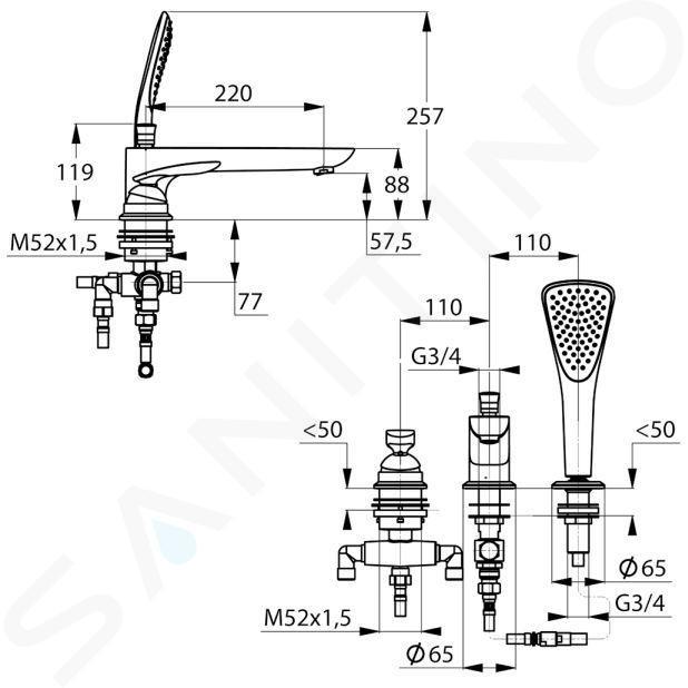 Kludi Balance - Mitigeur pour montage sur bord de baignoire, installation 3 trous, chrome 524470575