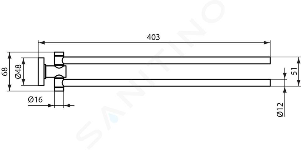 Ideal Standard IOM - Double barre pour serviettes, chrome A9131AA