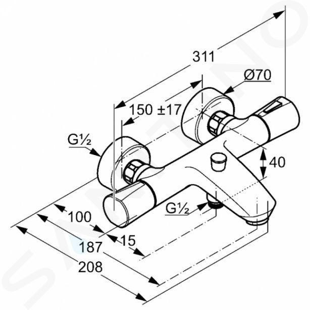 Kludi Zenta - Thermostat-Wannenarmatur, weiß / chrom 351019138