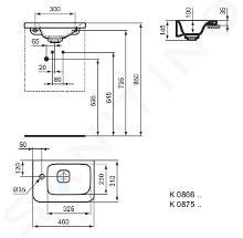 Ideal Standard Tonic II - Lavamani ad incasso 460x310x145 mm, 1 foro per miscelatore a sinistra, con Ideal Plus, bianco K0866MA