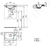 Ideal Standard Tonic II - Lavamani 460x310x145 mm, con 1 foro per miscelatore a destra, con Ideal Plus, bianco K0867MA