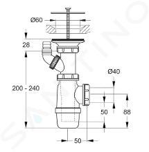 Ideal Standard Uitstortgootstenen - Sifon incl. afvalafdekking, chroom D5870AA