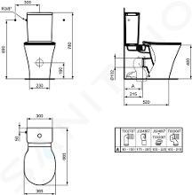 Ideal Standard Connect Air - Vaso combinato, scarico inferiore/posteriore, AquaBlade, con Ideal plus, bianco E0137MA