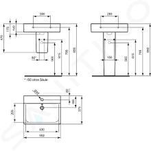 Ideal Standard Connect Space - Waschbecken Cube 550x375x175 mm, mit 1 Hahnloch, weiß E714001