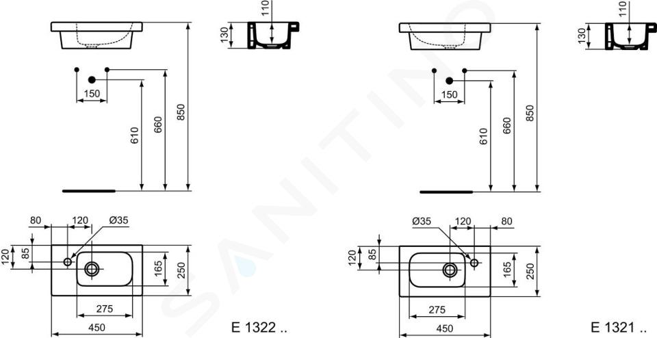 Ideal Standard Connect Space - Möbel-Handwaschbecken 450x250x130 mm, 1 mit Hahnloch links, mit Ideal Plus, weiß E1322MA