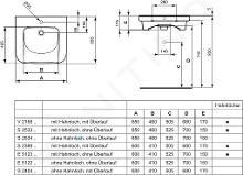 Ideal Standard Contour 21 - Lavabo pour personnes à mobilité réduite, 600x175x555 mm, un trou pour mitigeur, blanc S238901