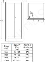 Ideal Standard Synergy - Sprchové dvere skladacie 70 cm, silver bright (lesklá strieborná) L6367EO