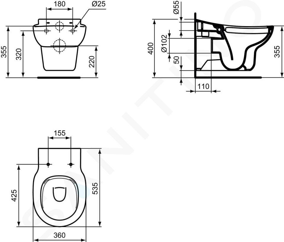 Ideal Standard Contour 21 - Wand-Klosett für Kinder, Rimeless, mit Ideal Plus, weiß S3128MA