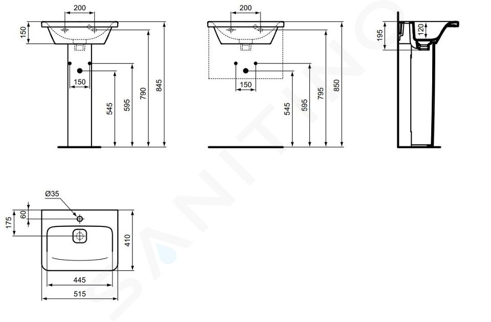 Ideal Standard Tonic II - Lavabo à encastrer 515x410x195 mm, un trou pour mitigeur, blanc K086801