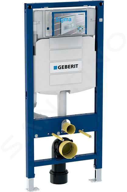 Geberit Duofix - Inbouwreservoir voor hangend toilet met Sigma01 bedieningsknop, alpine wit + Ideal Standard Quarzo - hangend toilet en wc-bril 111.300.00.5 NR1