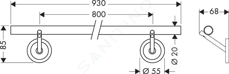 Axor Starck - Držiak na osušku 930 mm, chróm 40808000