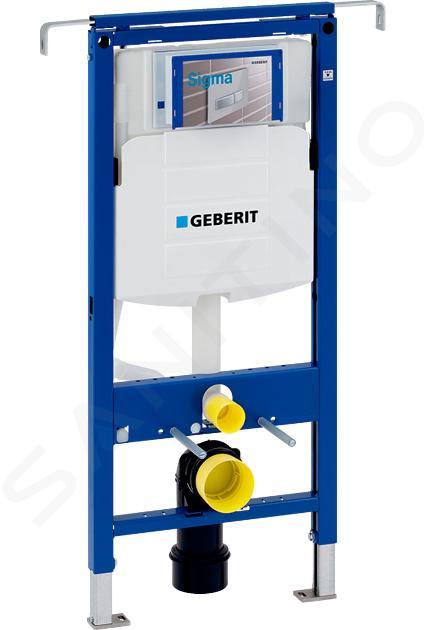 Geberit Duofix - Inbouwreservoir voor hangend toilet met Sigma01 bedieningsknop, alpine wit + Ideal Standard Quarzo - hangend toilet en wc-bril 111.355.00.5 NR1