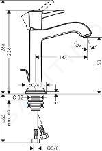 Hansgrohe Metropol Classic - Miscelatore monocomando 160 per lavabo, con sistema di scarico, cromato 31302000