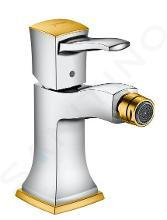 Hansgrohe Metropol Classic - Páková bidetová batéria s páčkovou rukoväťou, s odtokovou súpravou s ťahadlom, chróm/vzhľad zlata 31320090