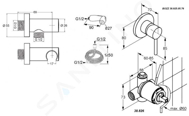 Kludi Bozz - Súprava bidetovej spŕšky s ventilom pod omietku, chróm 389990576