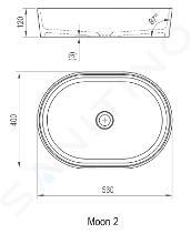 Ravak Moon - Umývadlo na dosku, 560x400 mm, biela XJN01300002