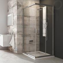 Ravak Blix - Rohový sprchovací kút posuvný štvordielny BLRV2-90, 880mm – 900 mmx880mm – 900 mmx1900 mm – farba lesklý hliník, sklo transparent 1LV70C00Z1
