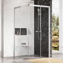 Ravak Matrix - Štvordielny rohový sprchovací kút MSRV4-90, 885mm – 905 mmx885mm – 905 mmx1950 mm – farba satin, sklo transparent 1WV77U00Z1
