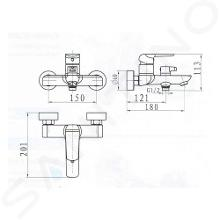 Novaservis Nobless Tina - Opbouw badkraan, wit/chroom 38020/1,1